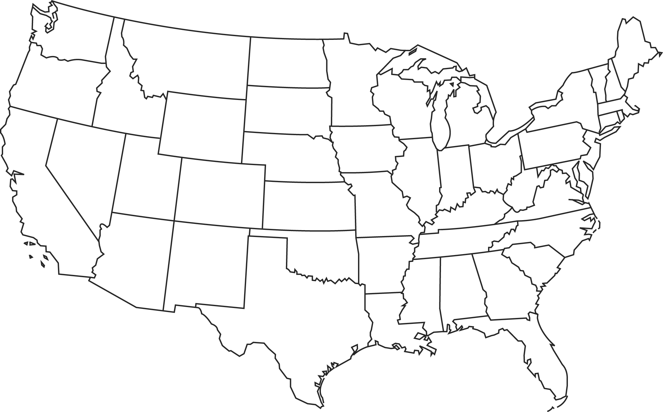 Map Of The United States - Us map styates
